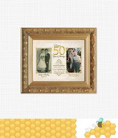 50th Anniversary Gift for Parents, Golden Anniversary Keepsake, Personalized With Now & Then Photos - Printable#50th #anniversary #gift #golden #keepsake #parents #personalized #photos #printable Golden Anniversary Gifts, Anniversary Gifts For Parents, Anniversary Dates, Anniversary Photos, Wedding Anniversary, Parent Gifts, Party Signs, Personalized Gifts, 50th
