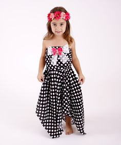 Look at this Black Polka Dot Handkerchief Dress - Toddler & Girls on #zulily today!
