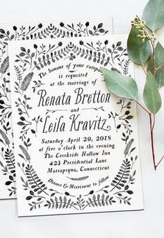 Vine covered invitations neutral color palette | contemporary | graphic design inspiration | modern | simple | simplistic | black and white | typography | calligraphy | hand lettered | brush | quote | saying |