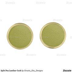 Split Pea Leather-look Gold Finish Cuff Links