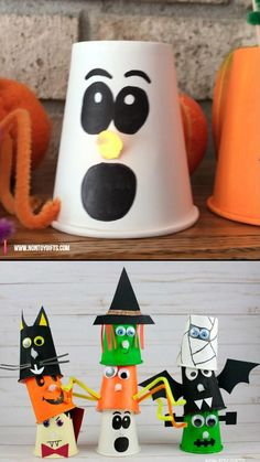 Halloween Arts And Crafts, Halloween Decorations For Kids, Halloween Crafts For Toddlers, Video Halloween, Halloween Diy, Halloween Makeup, Kindergarten Christmas Crafts, Preschool Crafts, Paper Cup Crafts