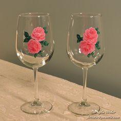 Elegant Pink Roses Pair of Wineglasses Hand Painted Stemware 18.5 ounce - Artistic Romantic  - 2