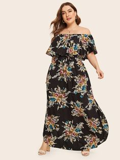 To find out about the Plus Floral Print Off Shoulder Split Drawstring Dress at SHEIN, part of our latest Plus Size Dresses ready to shop online today! Shirred Dress, Maxi Dress With Slit, Wrap Dress Floral, Mesh Dress, Plus Size Bohemian Dresses, Plus Size Dresses, Occasion Maxi Dresses, Tribal Print Dress, Natural Clothing