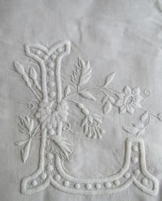 "Antique SHEET LINEN White FRENCH Monogram L B Center Seam 81"" Hand Embroidery"