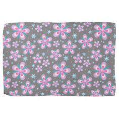 Pink And Blue Flower Design Kitchen Towel - floral gifts flower flowers gift ideas
