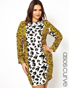 ASOS Curve | ASOS CURVE Body-Conscious Dress In Baroque Animal Print at ASOS