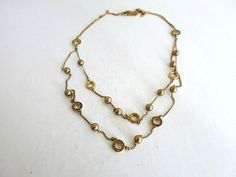 Monet Multi Strand Gold Tone Chain Necklace Crystal Bead Accents by ediesbest on Etsy