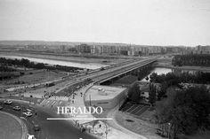 Obras de construcción del puente de a Almozara en la primera mitad de 1987. Foto de Eduardo Bayona