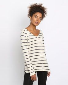 36209df5d3ea6b All About Eve Hendrix Knit Top Beige/Navy All About Eve, Casual Tops For
