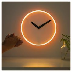 IKEA STOLPA Wall clock 32 cm To save energy, the clock has a UV sensor that senses the brightness in the room, so the lights around the clock face only shine when it's dark. Wall Clock Ikea, Big Wall Clocks, Kitchen Wall Clocks, Diy Clock, Clock Decor, Diy Wall Decor, Wall Clock Art, Clock Ideas, Boho Decor