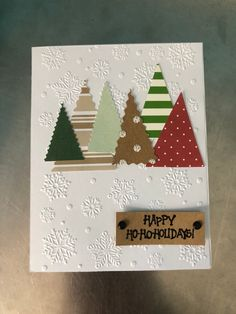 """Let someone know you are thinking about them this holiday season. x Comes with dark green envelope Blank inside Black embossed greeting """" Happy ho ho holiday"""" Please note that because this is handmade there m Christmas Card Crafts, Homemade Christmas Cards, Homemade Cards, Christmas Decorations, Tarjetas Diy, Holiday Greeting Cards, Diy Holiday Cards, Xmas Cards Handmade, Etsy Handmade"""