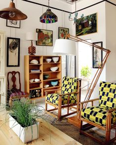 Give granny's old furniture a new look by restoring and reupholstering. These bamboo chairs look oh so glam in vintage Ewe Kente fabric from Ghana. The pop of color really makes this room. Vintage Decor, Vintage Furniture, Go For It, Chair Makeover, Interior Decorating, Interior Design, Home Decor Shops, Living Room Inspiration, Design Inspiration