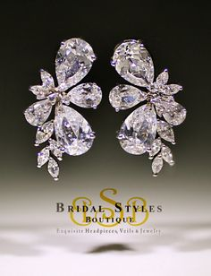 Bridal Styles Boutique - CZ Cluster Earrings, $120.00 (http://shop.bridalstylesboutique.com/cz-cluster-earrings/)