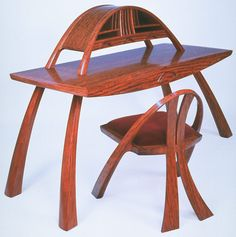 Arch Desk and Chair 24″w x 63″l x 45″h bubinga, maple