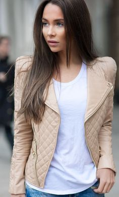 Nude Quilted Leather Biker Jacket