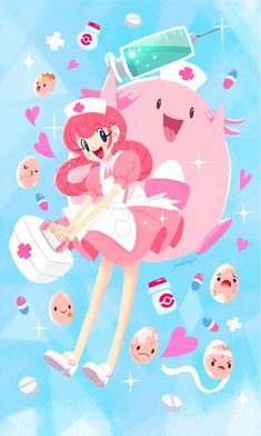 (*** http://BubbleCraze.org - You'll never put this Android/iPhone game down! ***) Nurse Joy, Chansey, and Exeggcute