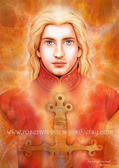 MEDIUM 'Archangel Michael' print by rose raven por roseravendesigns