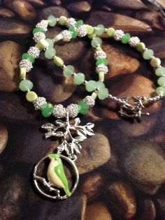 Green Bird Necklace by SallyPeas on Etsy, $20.00
