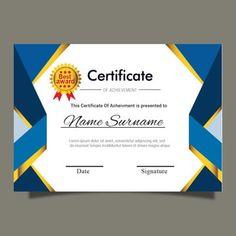 Blue gold certificate template for multipurpose diploma award or graduation Certificate Of Recognition Template, Certificate Layout, Graduation Certificate Template, Certificate Model, Certificate Background, Certificate Of Achievement Template, Graduation Templates, Certificate Design Template, Award Certificates