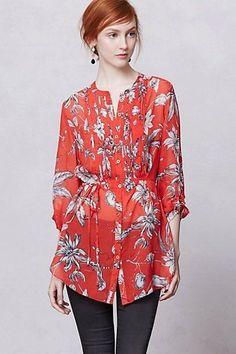 $128 Anthropologie Leifsdottir Black Silk Floral Cattleya Tunic Top