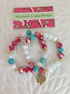 Red Turquoise White & Gold Elephant Charm by strawberryandlime, $20.00…