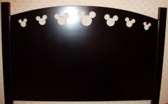 Disney Black Queen-sized Headboard with Mickey Mouse face cutouts