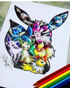 Eeveelutions by on DeviantArt - I've always loved the awesome Eevees Another one for the Pokemon Collection - Cute Animal Drawings, Kawaii Drawings, Disney Drawings, Cute Drawings, Pokémon Kawaii, Anime Kawaii, Pokemon Manga, Pokemon Funny, Pokemon Memes