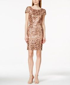 $179 Calvin Klein Short-Sleeve Cowl-Back Sequin Sheath Dress