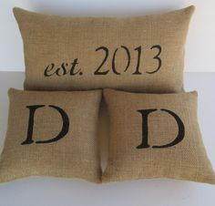 monogram burlap pillows, set of 3, anniversary date pillow, decorative pillows, unique wedding gift for bride and groom. $63.00, via Etsy.