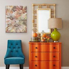 Fall Decorating Around the House Fall Decorating Around the House Petticoat Junktion petticoatjunk DIY Painted Furniture Makeovers Who said orange painted furniture didn&;t work? These […] painted furniture Fall Home Decor, Cheap Home Decor, Orange Painted Furniture, Colorful Furniture, Bright Colored Furniture, Casa Rock, Green Table Lamp, Furniture Makeover, Furniture Ideas