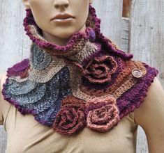 Crochet  Scarf - Capelet / Neck Warmer / Freeform crochet/ Navy blue/ Purple  Women Freeform Crochet