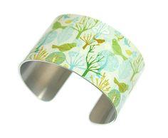 Cuff bracelet, woodland bird jewellery, women's bangle, nature lovers gift C116 £19.50