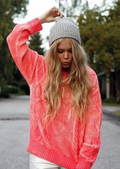 Coral knit Baggie sweater with the gray surfer girl hat is so cute I would pair it off with some purple high wasted shorts knee socks and dark vans