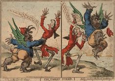 Gilray 'The Table's turned - Billy in the devil's claws / Billy sending the devil packing'