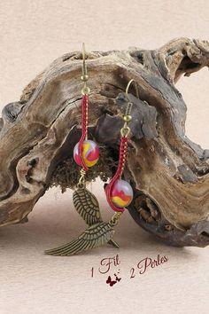 Boucles d'Oreille Pendante Perle Rouge Doré Gris Breloque