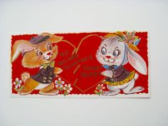 Vintage Valentine card We Belong Together by RetroandReclaimed