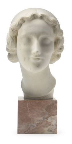 Elie Nadelman - PORTRAIT OF A WOMAN; Medium: white marble on a 5 1/2 inch pink marble base; Dimensions: Height: 15.5 in (Height: 39.37 cm)