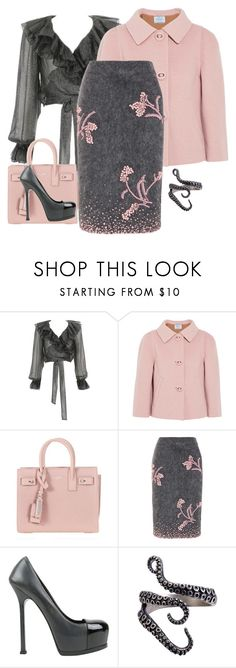 """""""gray"""" by georgine-d ❤ liked on Polyvore featuring Yves Saint Laurent and Prada"""