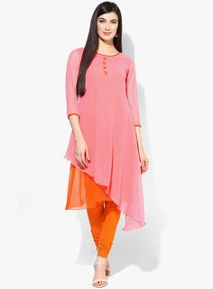 Buy Aks Peach Solid Kurti for Women Online India, Best Prices, Reviews | AK304WA70HYBINDFAS
