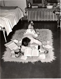 """fuckyeahvintage-retro: """" An exhausted student gives up, © Vassar College """" People Reading, Student Studying, Student Life, Midwifery, My Childhood Memories, The Good Old Days, Back In The Day, Old Photos, 1940s"""