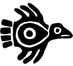 ancient mexican bird design - printable