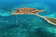 Dry Tortugas National Park, USA This National Park is in the Gulf of Mexico, west of Key West, Florida. It comprises 7 islands, plus protected coral reefs. Garden Key is home to beaches and the 19th-century Fort Jefferson. Loggerhead Key has a lighthouse and sea turtles #travel