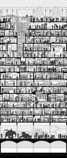 New Design Presentation Boards Architecture Ideas Ideas Architecture Sketchbook, Architecture Graphics, Architecture Portfolio, Landscape Architecture, Architecture Design, Section Drawing Architecture, Architecture People, Coupes Architecture, Architectural Section