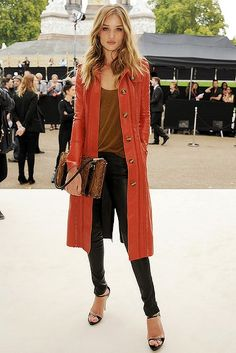Rosie Huntington-Whitely,  Burberry Spring Summer 2012.  I love the Jacket.  The colour, the length.