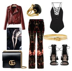 """""""Dinner date"""" by hangerson on Polyvore featuring Roberto Cavalli, Gucci, Topshop, Zimmermann, Kate Spade and Valentin Magro"""