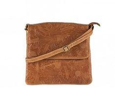 b12c0060753 Cognac tas van leer. Dit model tas heeft een stijlvolle print en aan de  achterzijde
