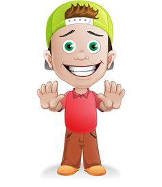 Awesome vector illustration of a young boy wearing green cap. We wanted to create a boy vector character for so long, a cartoon character that will surpass all