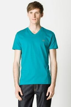 Lacoste Short Sleeve Pima Jersey V-neck T-shirt  best colors:  Black  navy blue  silver grey