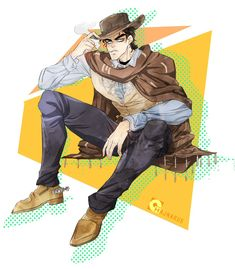 """""""Since I know he was created after Clint Eastwood I wanted to draw this! Me Me Me Anime, Anime Guys, Jojo Stardust Crusaders, Crying At Night, Jotaro Kujo, Disney Songs, Jojo Memes, Jojo Bizzare Adventure, Funny Relatable Memes"""