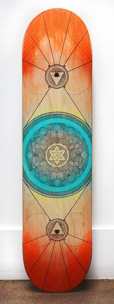 Symmetry in Skating deck design for the AIGA BordoBello auction. hand-drawn / painted with watercolor and pigma microns.